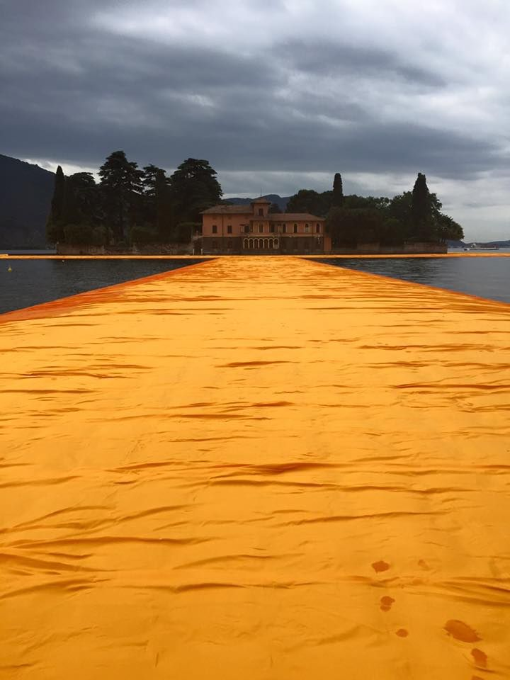 First pictures coming from lake Iseo #TheFloatingPiers by Christo and Jeanne-Claude. We will be there very soon!  Pictures by Brescia Oggi