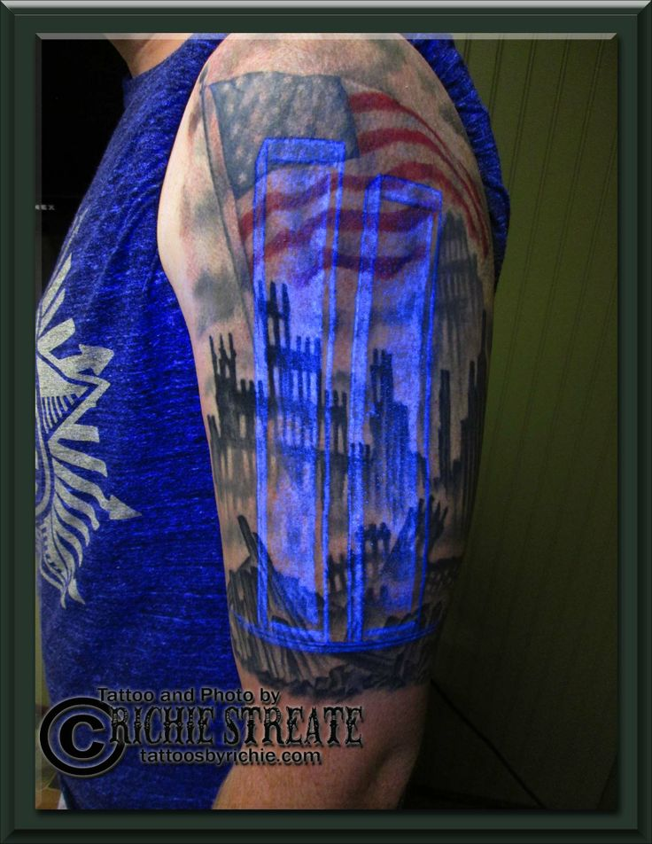 Twin Towers, Ground Zero, American Flag, Tattoo