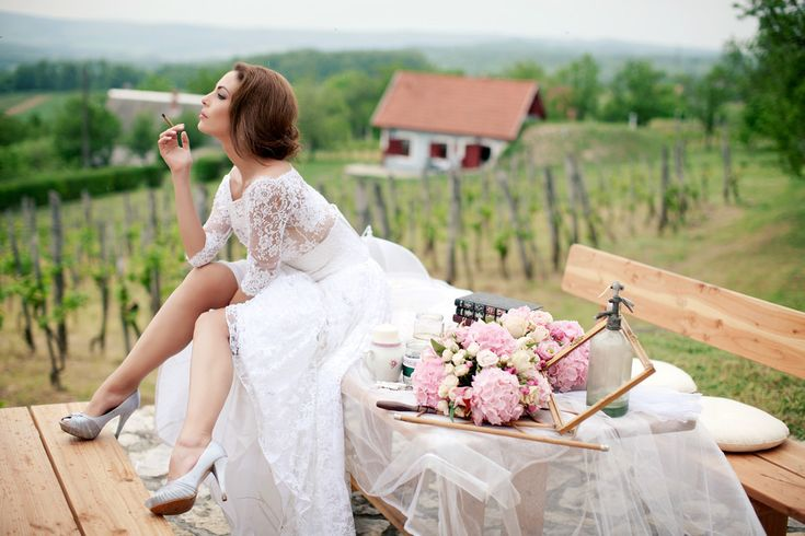 bride on the vintage table