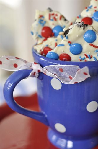Red, White and Blue Cookie Bark for 4th of july