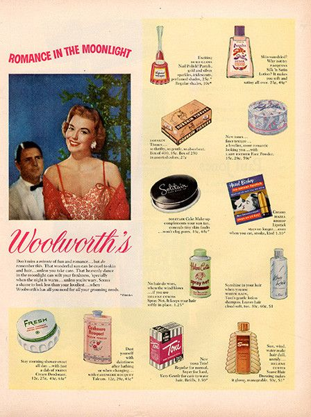 """1953 Woolworth's Makeup Make Up Original Health and Beauty Print Ad -An original vintage 1953 advertisement, not a reproduction -Measures approximately 10"""" x 13"""" to 11"""" x 14"""" -Ready for matting and fr"""