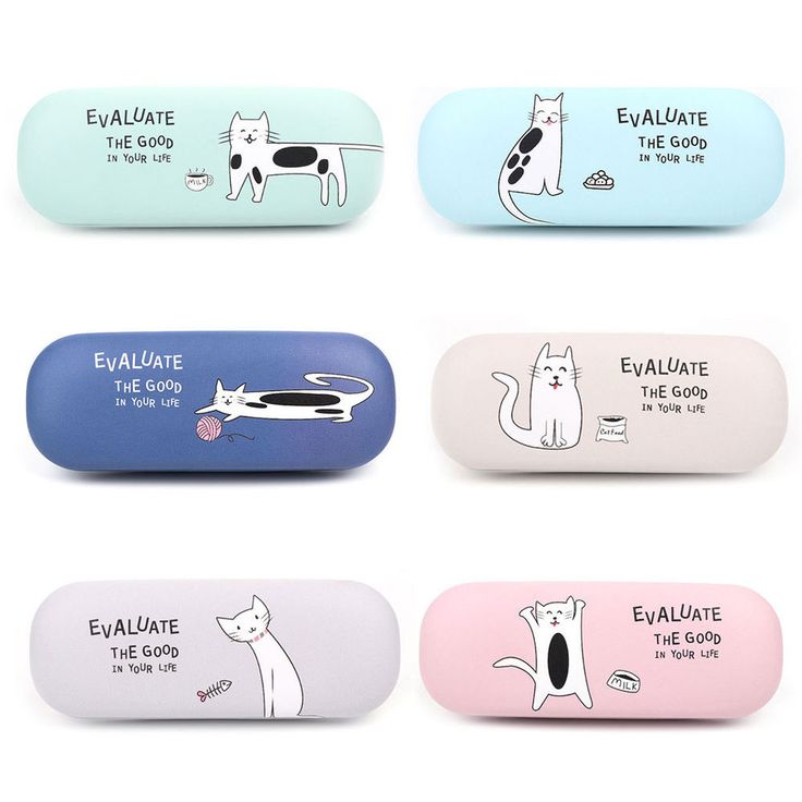 Cute Cats Cartoon Glasses Box Eyeglasses Case Hard Protector Faux Leather Girls #Unbranded