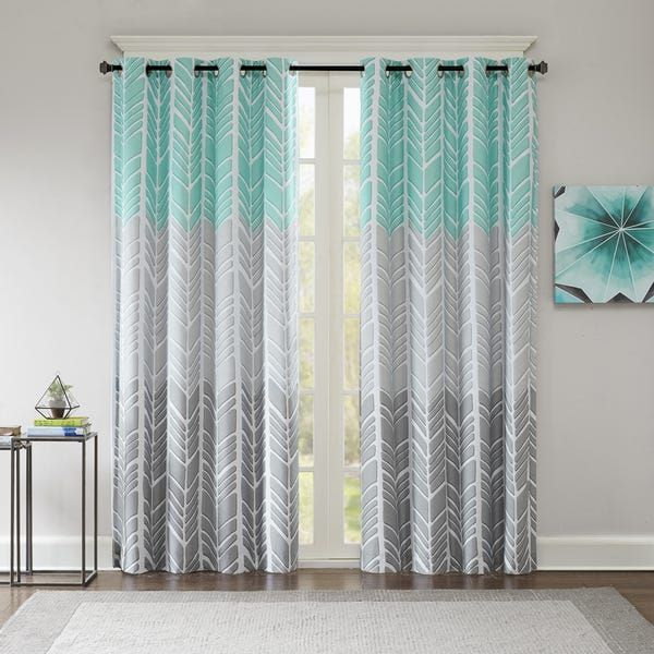 Intelligent Design Kennedy Printed Lined Blackout Single Window Curtain Panel Yellow Panel Curtains Cool