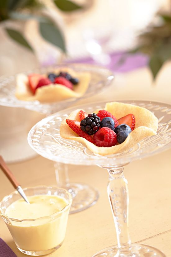 Love this idea! Use your beautiful stemware to add elegance for serving small courses and the colorful berries add drama. How will you use this idea?