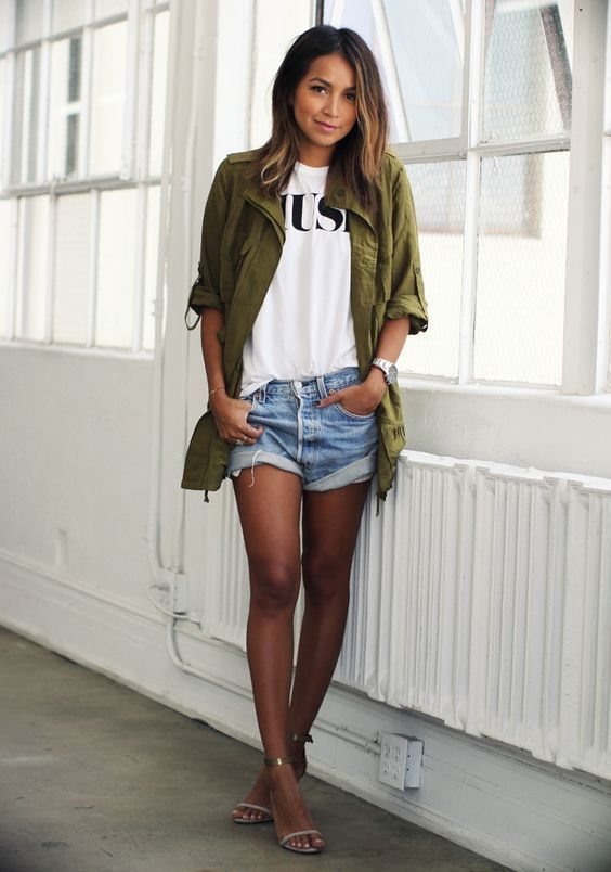 Step up your off-duty look in an army green military jacket and light blue denim…