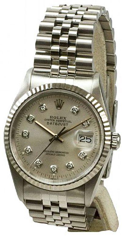 Rolex Mens Datejust Steel Silver Diamond Dial & Jubilee Band