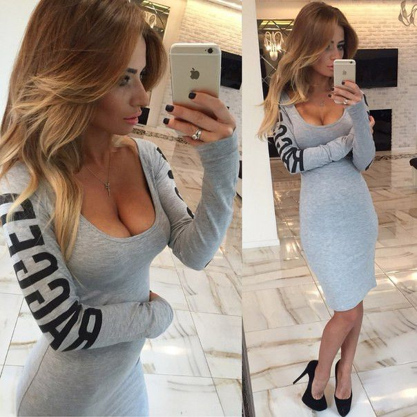 Scoop Long Sleeves Bodycon Hollow Sheath Flower Print Short Dress