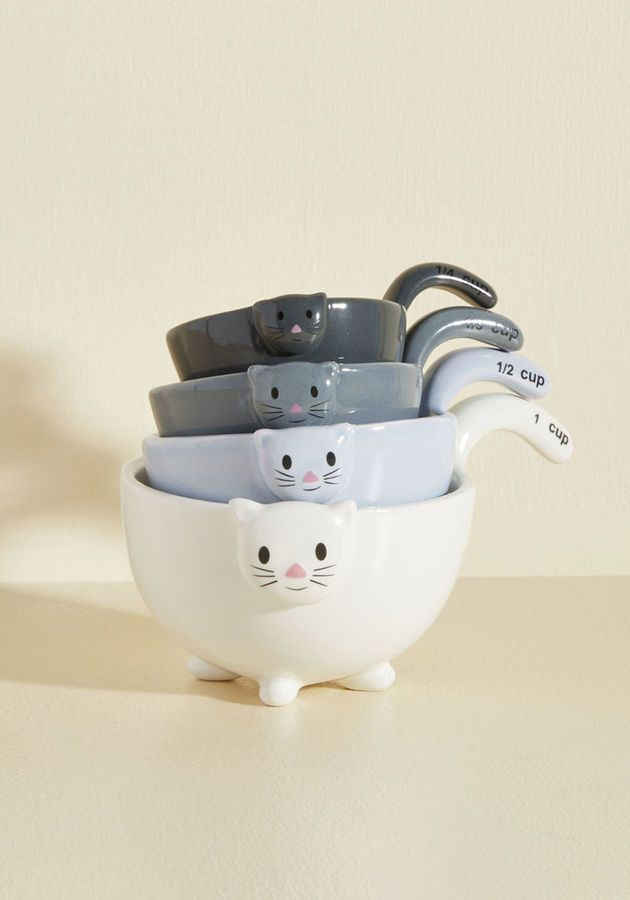 1 X Ceramic Cat Measuring Cups Baking Bowls