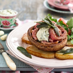 Grilled mushroom and potato stacks with grilled beef and thyme aioli