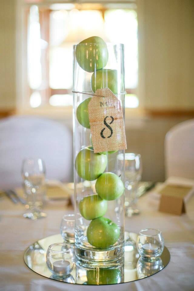 Wedding centerpiece Flowerless centerpiece Green apple centerpiece Country centerpiece Burlap centerpiece Alternative centerpiece Photo by Brischetto Photography