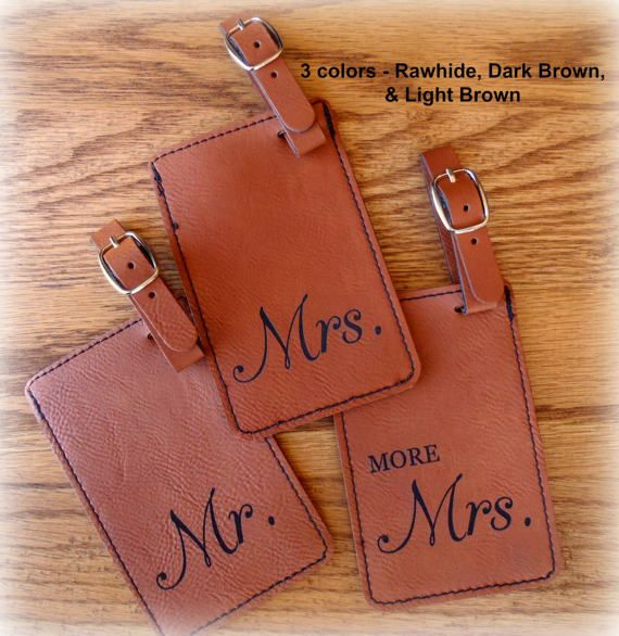 Luggage Tag Mr and Mrs Set of 3 Leather Vegan by BPLaserEngraving #personalizedgift #monogram #customgift #weddinggift #engaged #groomsmengift #bridesmaidgift #anniversarygift #laserengraved #bplaserengraving #etsy#passport #personalizedpassportcover #lifeisajourney #groomgift #luggagetag #brideandgroomgift #weddingplanner #bridetobe #mrandmrs #luggagetag #mrandmrs