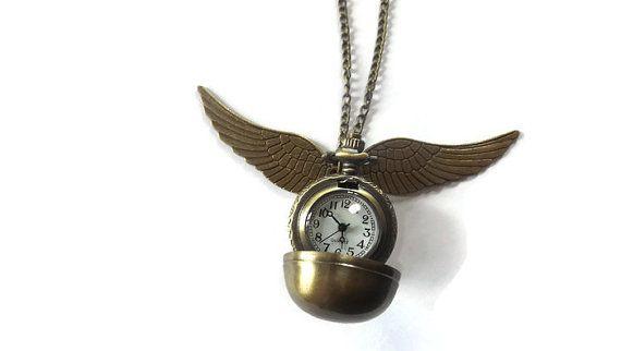 Collar de reloj de bolsillo oro Snitch, joyas de Harry Potter, Snitch dorada collar, reloj, regalos Geek, regalos para ella, regalos para mujeres