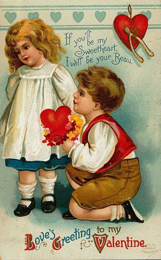 """<span class=""""caption_text"""">Cute kids: little boy and girl vintage Valentine card</span>"""