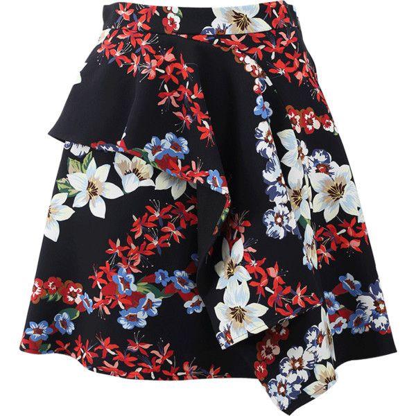 Msgm Floral Mini Skirt ($627) ❤ liked on Polyvore featuring skirts, mini skirts, ruffle skirt, flower print skirt, short skirts, short frilly skirts and fringe skirts