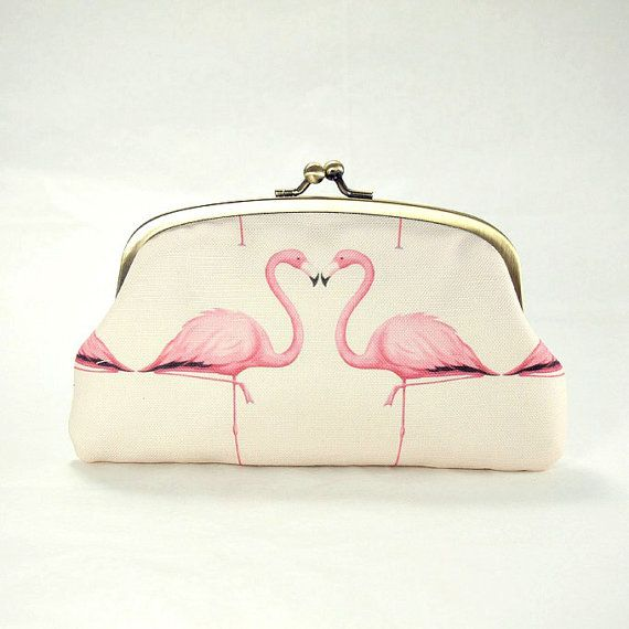 Double coin purse / Pink Flamingos / two by ElevenRoosters on Etsy, $39.00