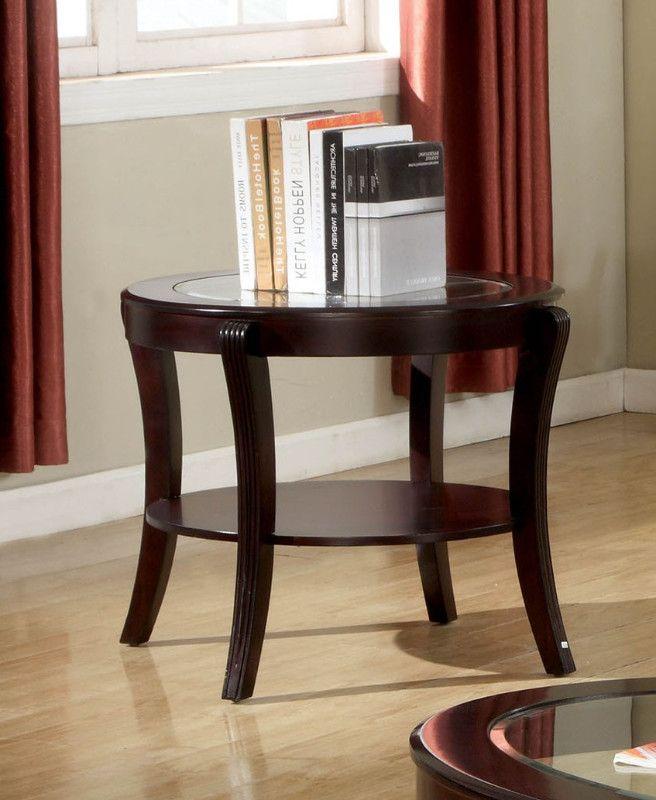 Cm4488e Finley Espresso Finish Wood Beveled Glass Top End Table End Tables In 2019 Glass Top End Tables Espresso End Table End Tables