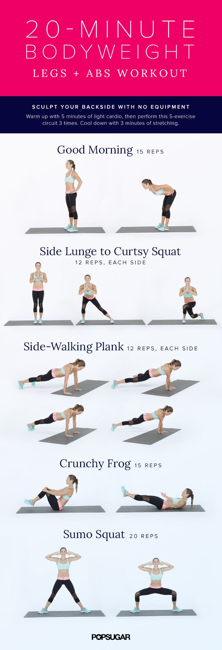Bodyweight Workout For Legs and Abs | POPSUGAR Fitness