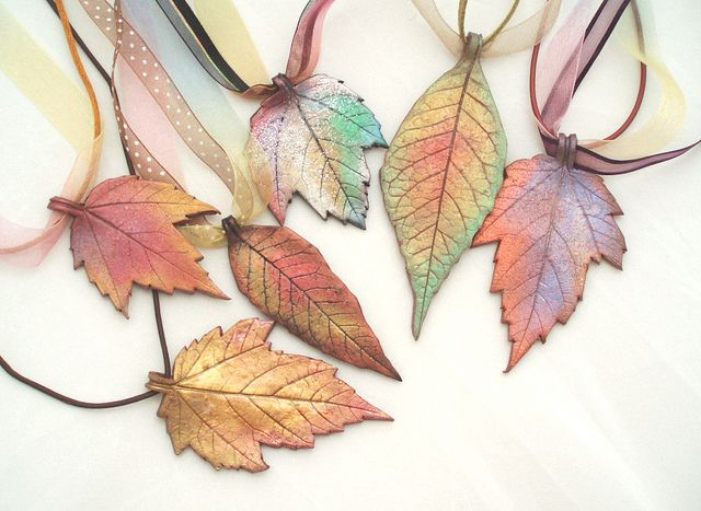 Autumn leaf pendants made from polymer cly by beadunsupervised.