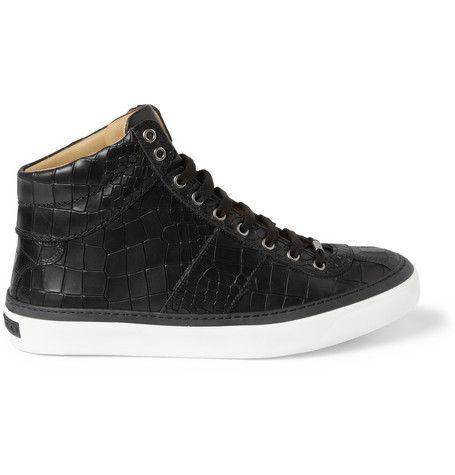 #JimmyChoo Belgravia Crocodile-Embossed Leather High Top Sneakers