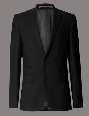 Big & Tall Black Tailored Fit 2 Button Jacket