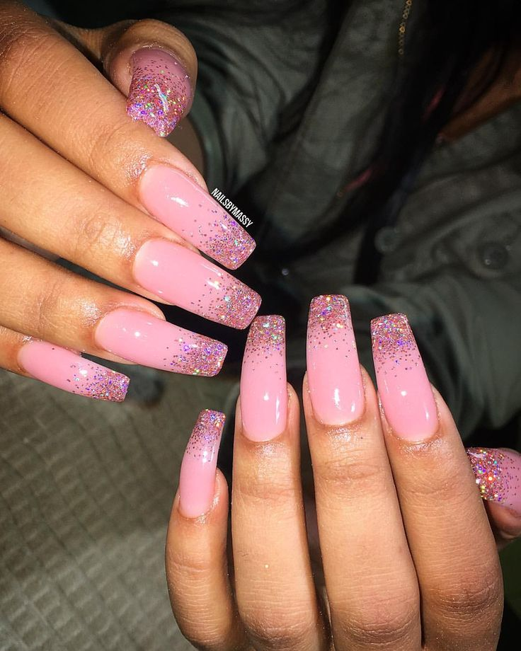 "82 Likes, 2 Comments - @nailsbymassy on Instagram: ""ONLINE BOOKING NOW AVAILABLE✨ Pink acrylic with some pink holographic glitter  #nails #nopolish…"""