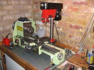 Milling Machine - Homemade milling machine constructed from a surplus drill press and a lathe.
