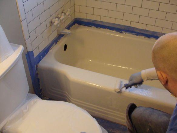 Resurfacing the tub @kyle strandberg  this is totally our bathtub!