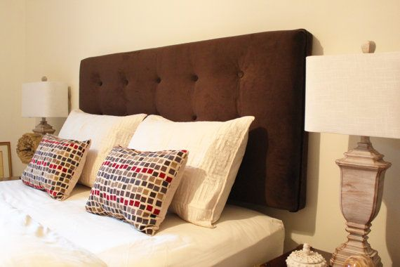 brown ultra suede queen size headboard upholstered wall mounted. Black Bedroom Furniture Sets. Home Design Ideas