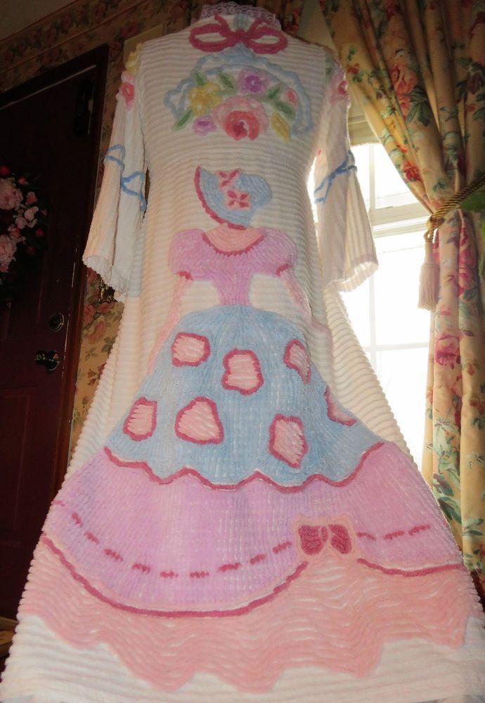 VICTORIAN Fantasy BELLE Vtg Handmade Chenille Bedspread Robe Lacy Bathrobe #Handmade #Robes