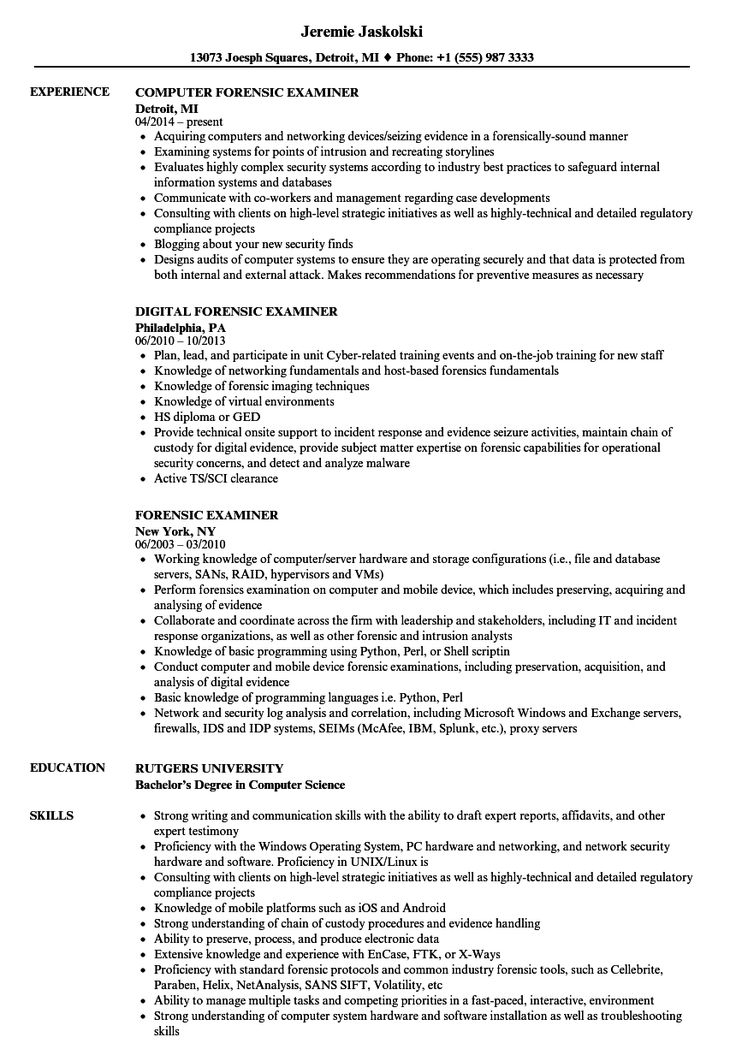 Forensic examiner resume samples in 2020 professional