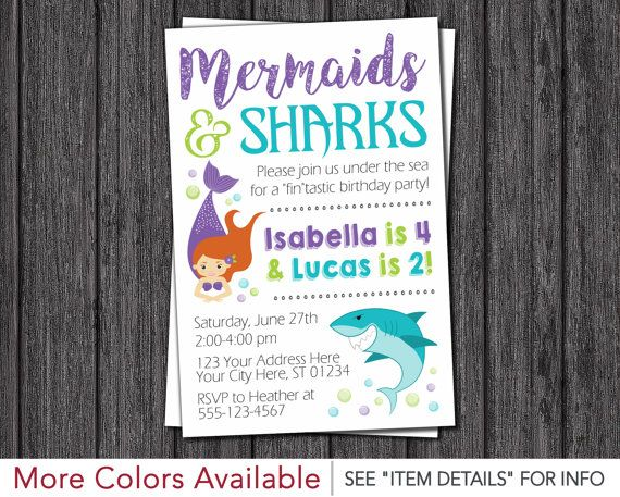 Sharks and Mermaids Birthday Invitation  Mermaid by PuggyPrints