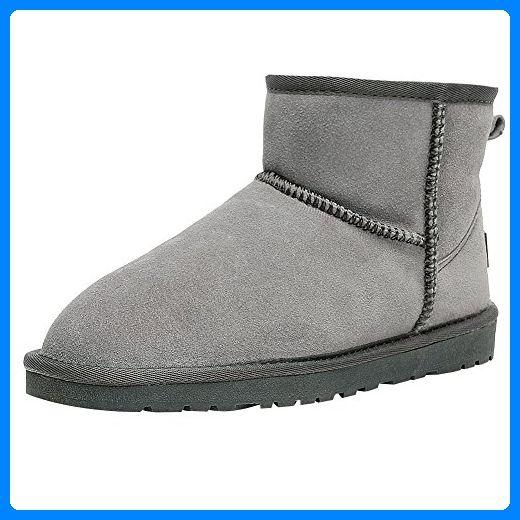 Jamron Damen Winter Warm Kunstpelz Gefüttert Stiefeletten Komfort Wildleder Schneestiefel Grau SN1054 EU42 - Stiefel für frauen (*Partner-Link)