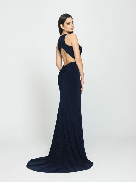 90d08f30cf7 Style 19-104 from Madison James is a demure neckline on this sleeveless gown  but reveals a sexy ruched open racer back.