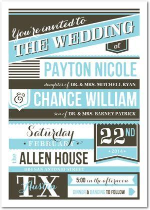 Handsome Handbill - Signature Custom Wedding Invitations - Elum - Sky - Blue : Front