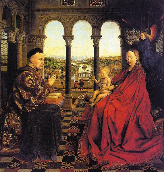 Jean Van Eyck La virgen del canciller Rolling 1435, oleo sobre tela 60*62 Luvre París