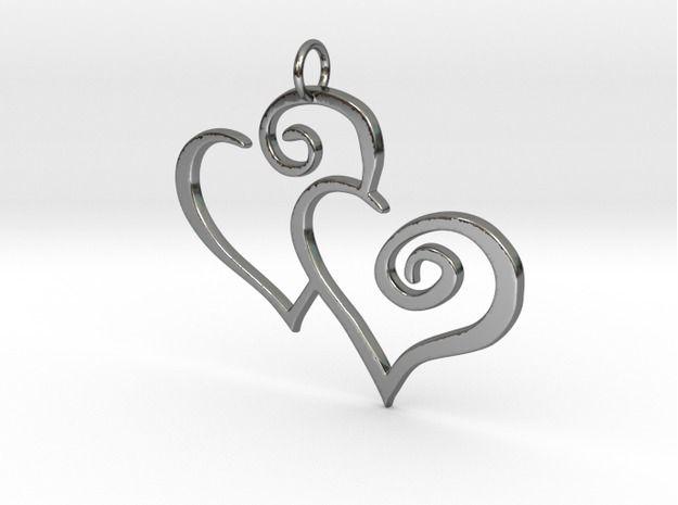 2-Heart Charm Pendant 3d printed premium silver #pendant #charm #gift