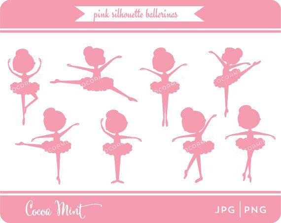 Roze silhouet Ballerina glinsterende Clip Art van cocoamint op Etsy