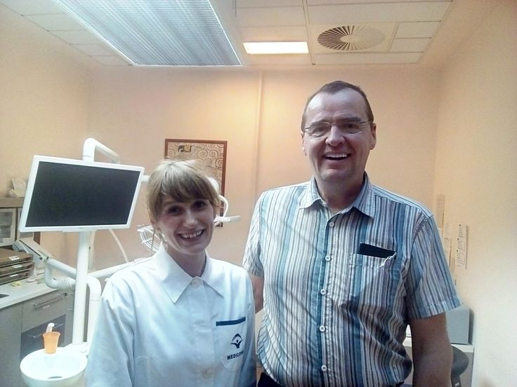 Dr. Gótai with her patient. Jean travelled to Budapest from Canad for his new smile. He needed zirconium crowns for the upper and lower teeth. He is very satisfied with the work of Dr. Gotai.