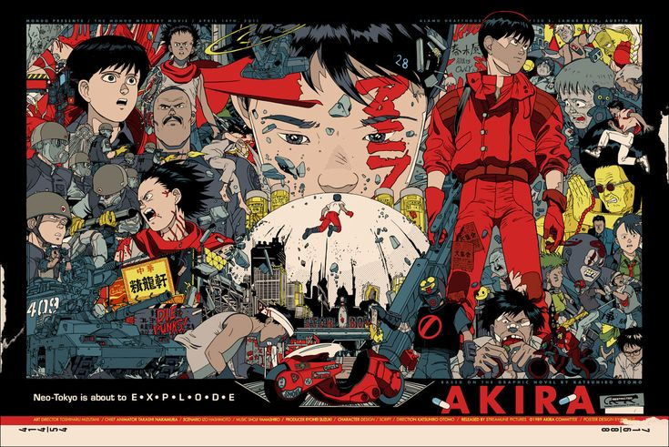 Akira (1988) is a Japanese animated cyberpunk action film directed by Katsuhiro Otomo, written by Otomo. The screenplay is based on Otomo's manga Akira, focusing mainly on the first half of the story. The film depicts a dystopian version of Tokyo in the year 2019, with cyberpunk tones.
