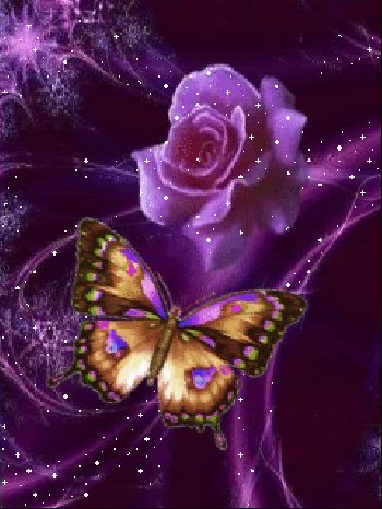 rose glitter graphics | Glitter Graphics » Fantasy » Purple Rose with Butterfly