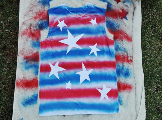 DIY: Star Spangled Shirt | Momtastic - I think I would use fabric paint...
