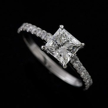 Platinum 950 Cut Down Micro Pave Diamond Princess Cut by OroSpot, $1329.00