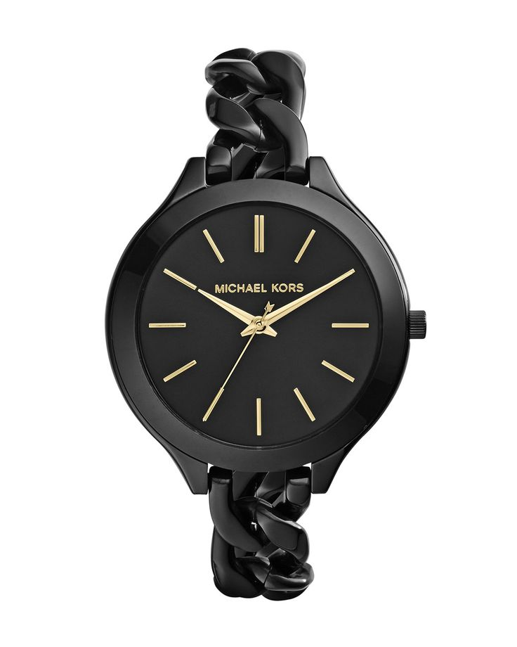 OMG! I love this! It's blowing mind! Michael Kors MId-Size Black Stainless Steel Slim Runway Three-Hand Watch