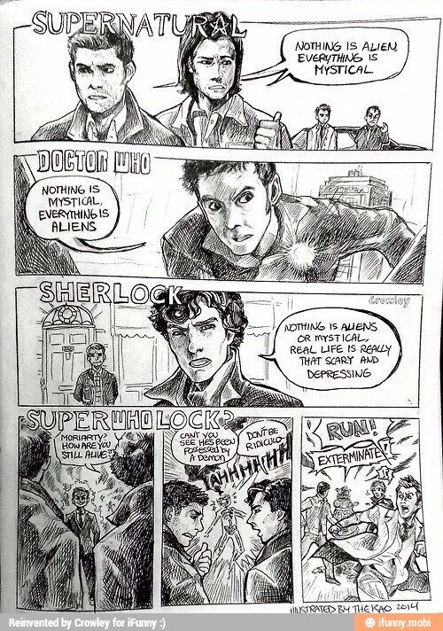 This is the best thing in the universe. I wish they'd do it! A Superwholock crossover is something I'd watch on repeat until the day I die lol.