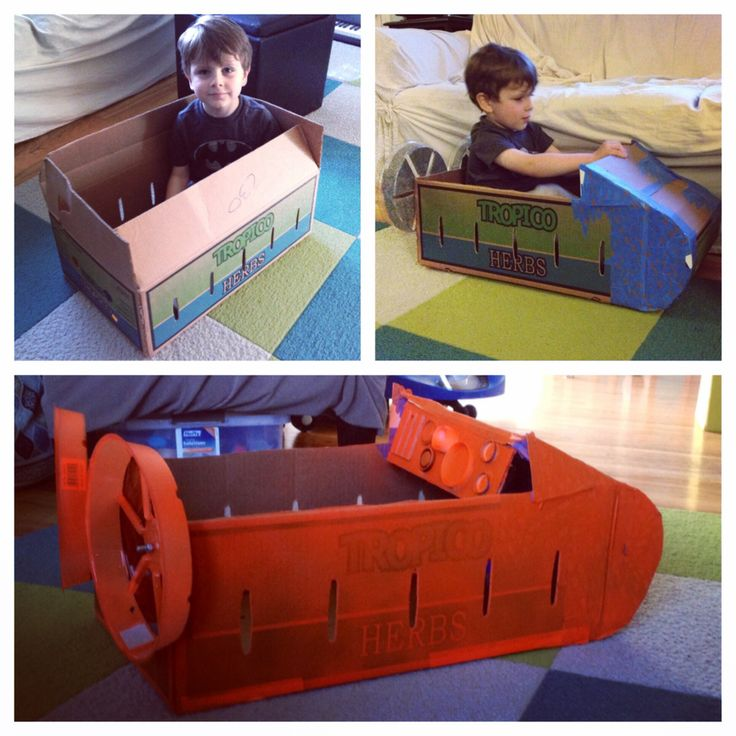 Paw Patrol obsessed? My son is! Zuma is his favorite puppy from the show and so he naturally requested that we make Zuma's hovercraft. Trip to the store for a big box, some cutting and taping, little orange spray paint and done! The fans at the back are plastic flower pot pans (the things you put under a pot to protect the floor) and are attached with nuts and bolts so they spin easily.