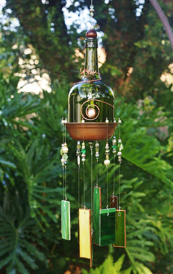 Whimsical Wine Bottle Wind Chime - Tigress is made from Stained Glass, Dark Green Bottle, Up-cycled Copper Piece & Beads. Indoor/Outdoor