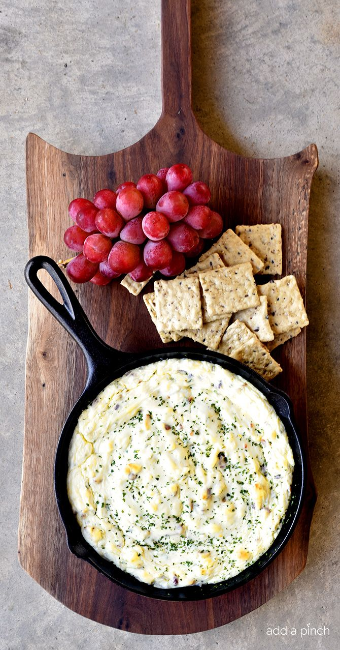Bacon Blue Cheese Dip Recipe - This Bacon Blue Cheese Dip recipe makes a flavorful dip recipe! Baked in a skillet, this delicious dip is perfect for so many occasions! // addapinch.com