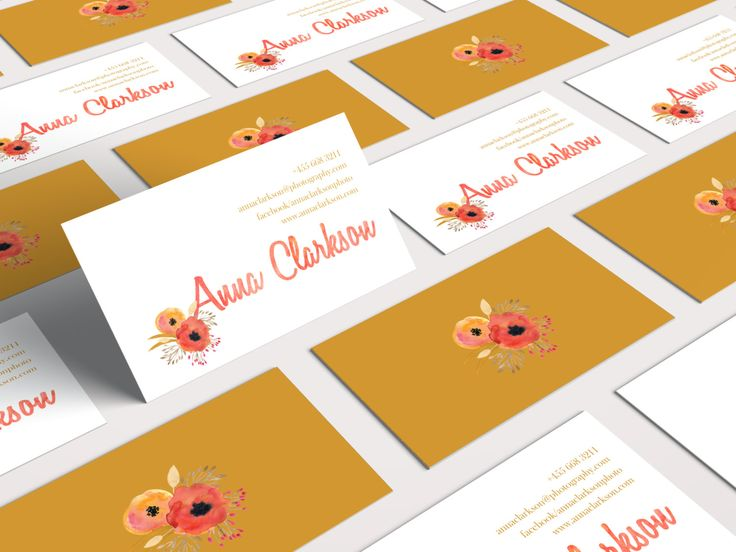 Premade 2 Sides Business Cards Design Watercolor Flower Bouquet, Pink, Bronze, Customizable by SmallBottleCreations on Etsy