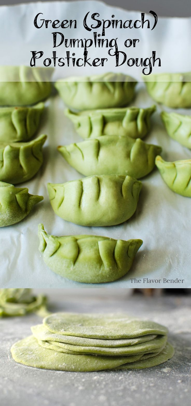 Green Dumpling dough or Potsticker dough made with Spinach puree! Perfect for pan-fried potstickers or steamed dumplings!
