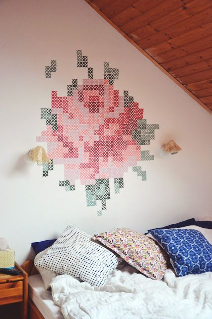try a cross stitch stamp on large canvases